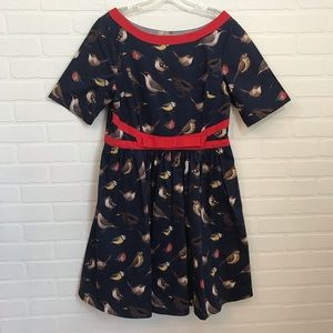 eShakti Retro Dress Sz XL/16 Bird Print Red Bow